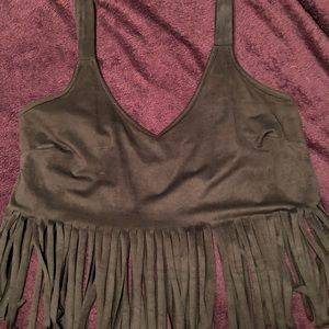 Charlotte Russe Fringed Crop Top